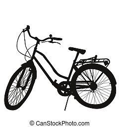 silueta, de, bicicleta, blanco, plano de fondo