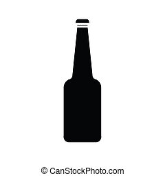 silueta, de, botella de vidrio, vector