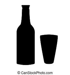 silueta, de, botella, vector
