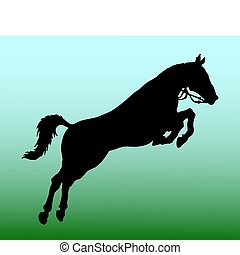 silueta, de, caballo