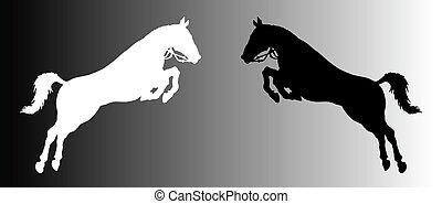 silueta, de, caballos
