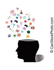 silueta, de, cabeza humana, y, vario, símbolo, vector