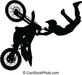 silueta, de, cavaleiro motocicleta, executar, truque