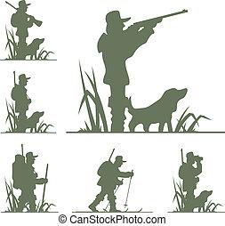 silueta, de, cazador