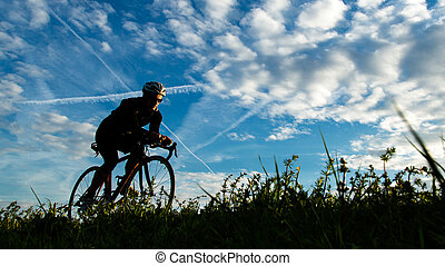 silueta, de, ciclista