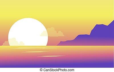silueta, de, colina, y, lago, en, el, mañana, paisaje