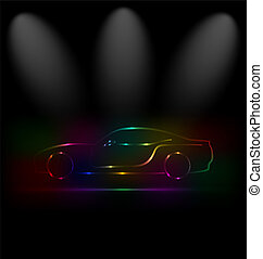 silueta, de, coloridos, car, em, escuridão