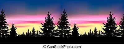 silueta, de, conífero, trees.seamless