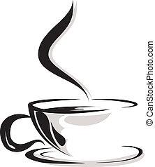 silueta, de, copo, café, amante