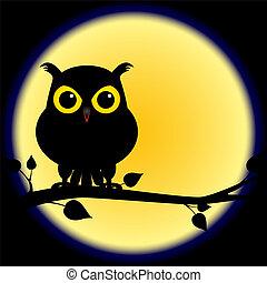 silueta, de, coruja, ligado, ramo, com, lua cheia