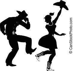 silueta, de, country-western, baile