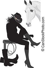 silueta, de, cowboy-woman