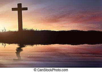 silueta, de, cristiano, cruz, en, el, campo, con, mancha, reflexión