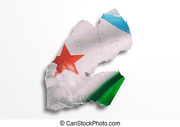 silueta, de, djibouti, mapa, con, bandera