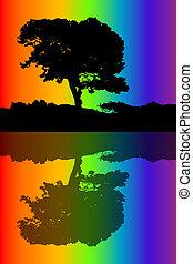 silueta, de, el, árbol