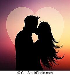 silueta, de, el besarse de los pares, en, un, corazón, plano de fondo