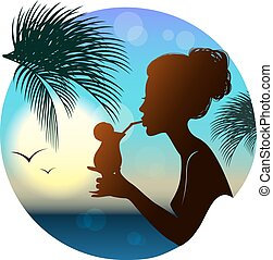 silueta, de, el, niña, tropical, vista de mar