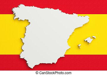 silueta, de, españa, mapa, con, bandera