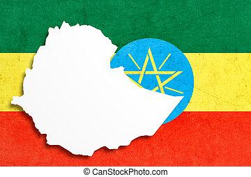 silueta, de, etiopía, mapa, con, bandera