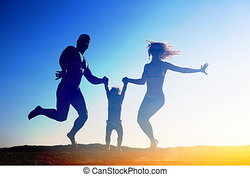 silueta, de, família feliz