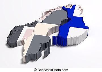 silueta, de, finlandia, mapa, con, bandera