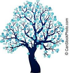 silueta, de, florescer, árvore, tema, 2