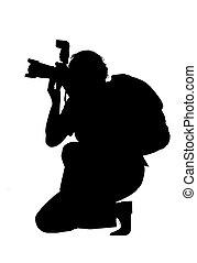 silueta, de, fotógrafo