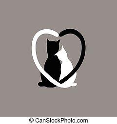 Silueta Amor Gato Negro Diseño Su