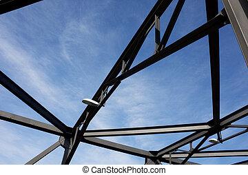 silueta, de, hierro, ensenada, puente, estructura