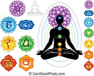 silueta, de, hombre, con, símbolos, de, chakra