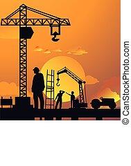 silueta, de, hombre, trabajo encendido, interpretación el sitio, con, grúa, y, edificio, en, cielo de puesta de sol, dramático, ilustración