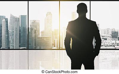 silueta, de, homem negócio, sobre, escritório, fundo