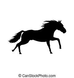 silueta, de, horse.