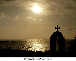 silueta, de, iglesia griega, cima