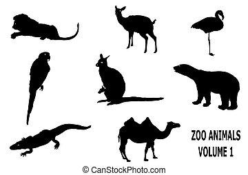 silueta, de, jardim zoológico, animais