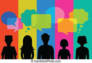 silueta, de, jovens, com, fala, bolhas