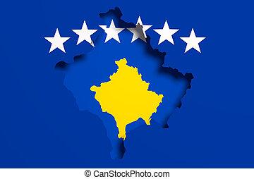 silueta, de, kosovo, mapa, con, bandera
