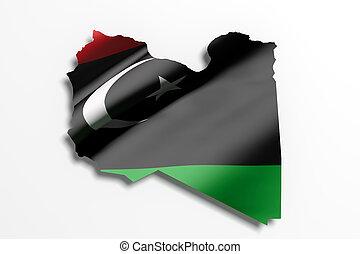 silueta, de, libia, mapa, con, bandera