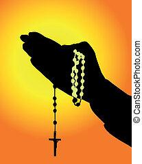 silueta, de, manos, con, un, rosario