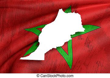 silueta, de, marruecos, mapa, con, bandera