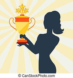 silueta, de, menina, segurando, prêmio, cup.