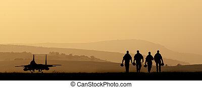 silueta, de, militar, ataque aeronave, contra, vibrante, pôr...