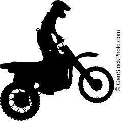 silueta, de, motorcycle.
