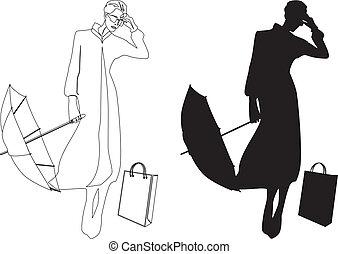 silueta, de, mujer con paraguas