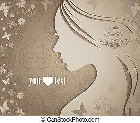 silueta, de, mujer joven, con, flores, y, mariposas