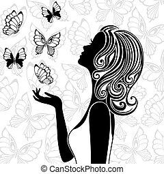 silueta, de, mujer joven, con, vuelo, mariposas