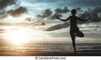silueta, de, mujer joven, meditar, en, el, océano, playa, en, asombroso, ocaso, en, frío, tones.