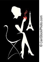 silueta, de, mulher, com, um, copo, de, coffee., isabelle, série