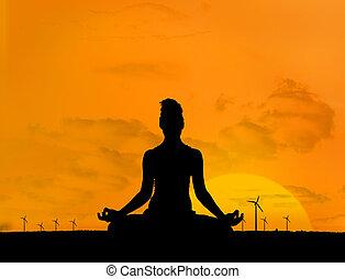 silueta, de, mulher, fazendo, ioga