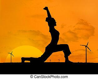 silueta, de, mulher, fazendo, ioga, com